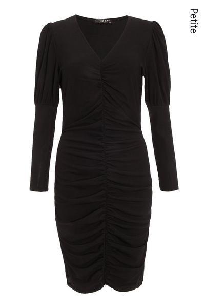 Petite Black Ruched Midi Dress
